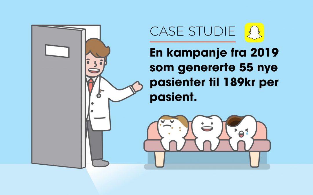 Hvordan Smil Tannlegesenter brukte 10 359 kr på Snapchat annonser for å generere 172 921 kr i omsetning på 11 dager.